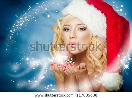 santa girl on snow blue