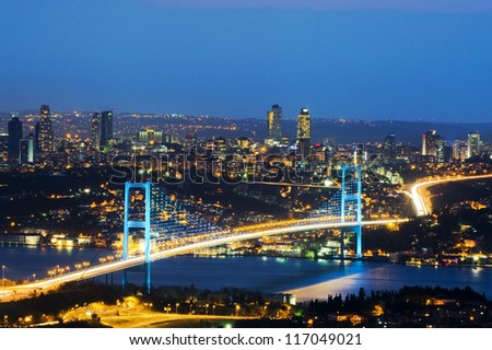 the night view of bosphorus