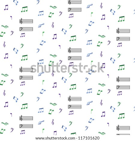 brightly colored musical notes