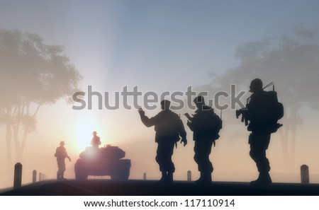 a group of soldiers against the