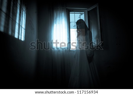 horror scene of scary woman's