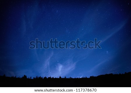 blue dark night sky with many