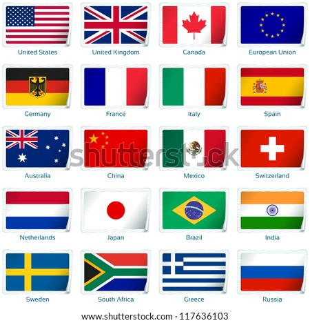 sticker flags  popular vector