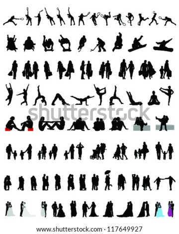big set of people silhouettes 2