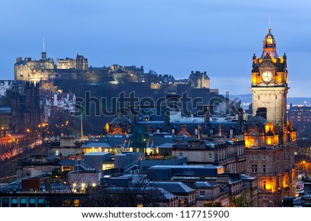 edinburgh castle with cityscape