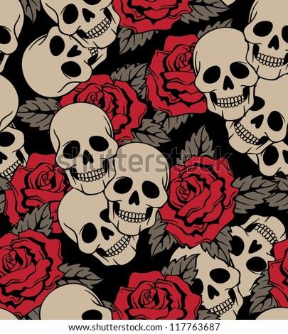 vector seamless with roses and