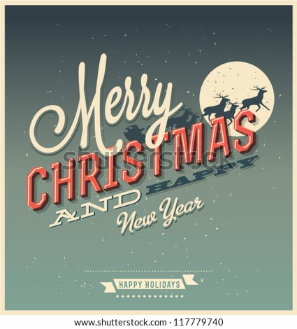 vintage vector christmas card