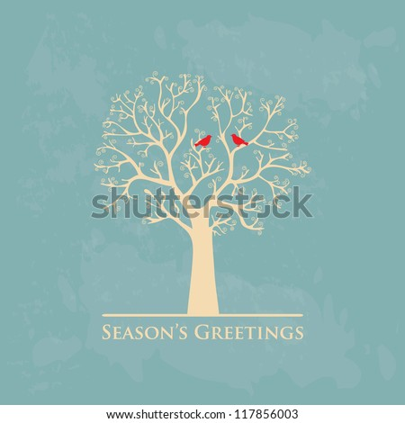 winter tree with birds vector