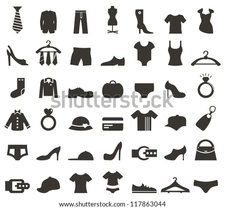 set of icons on a theme clothes