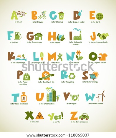 ecology green alphabet with
