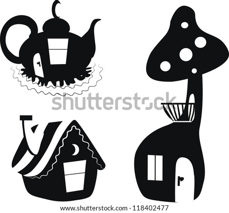 silhouettes of houses  fairy