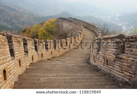 great wall of china in colorful