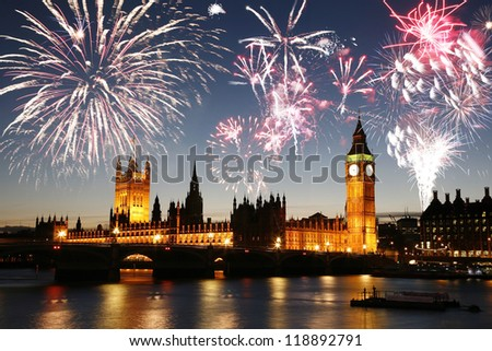fireworks over palace of