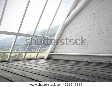 white loft and big window