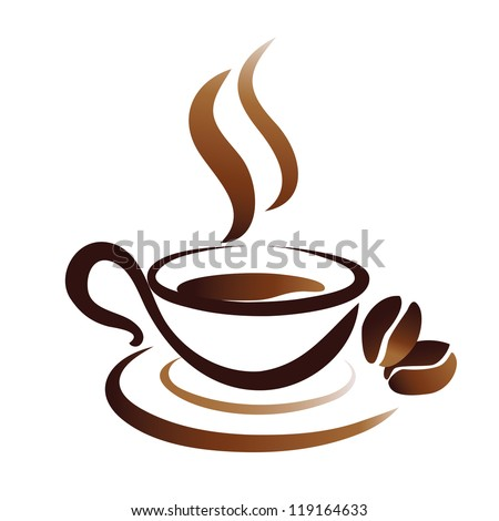 sketch of coffee cup  stylized