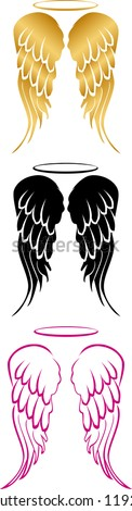 angel wings in three different
