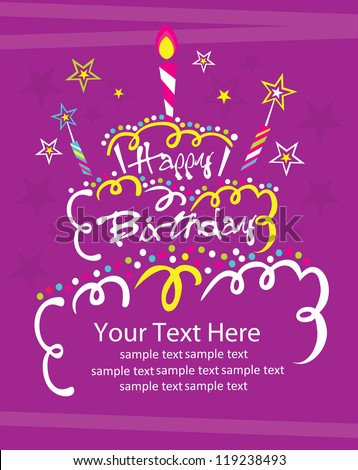 happy birthday cake card design