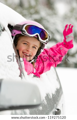 winter  ski    happy child on