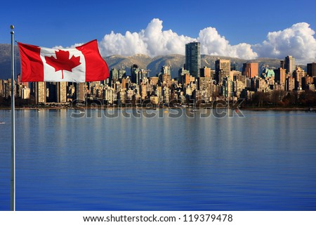 canadian flag in front of the