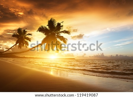 sunset on the beach of
