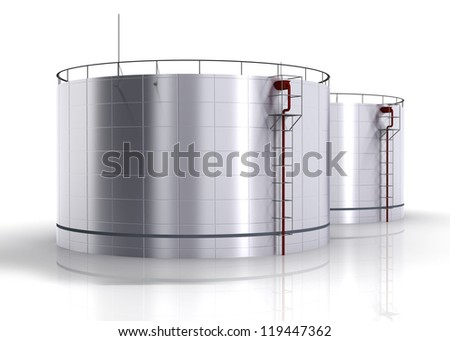 oil storage tank on a white
