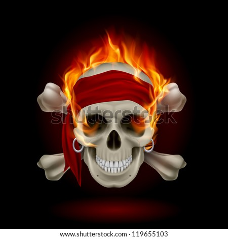 pirate skull in flames