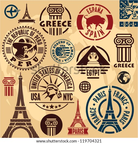 travel stamps travel icons set