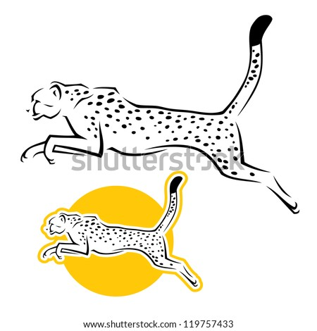 cheetah jumping   vector