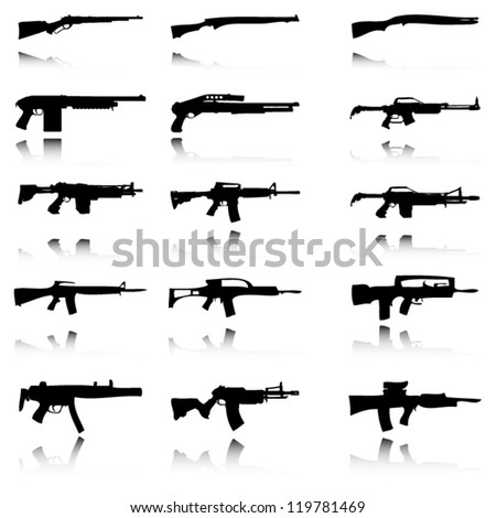 silhouettes of guns with