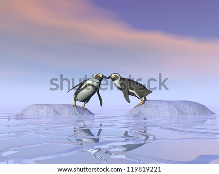 two penguins standing on