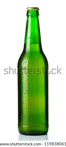 green bottle of beer with drops