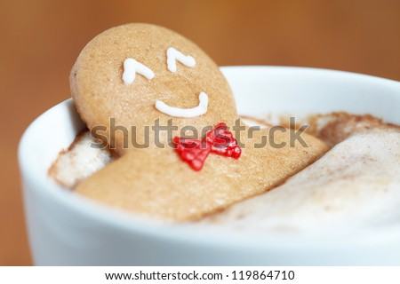 gingerbread cookie man in a hot