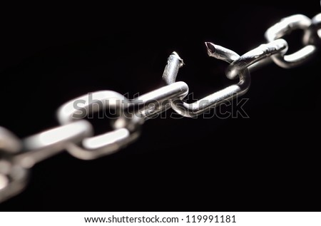 iron chain with one link about