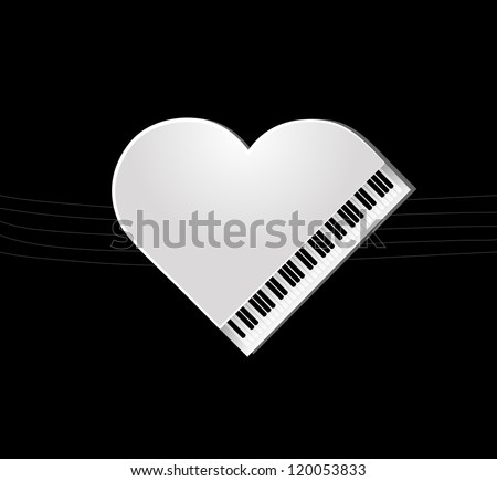 white piano on black background