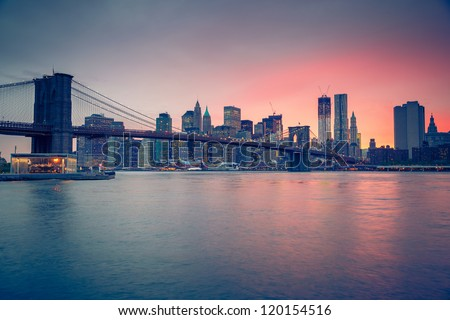 brooklyn bridge at dusk  new