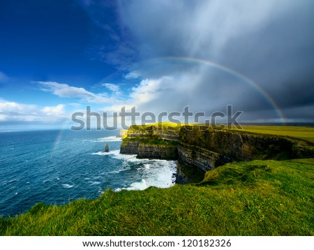 rainbow above cliffs of moher