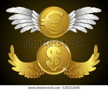 dollar and euro coins with wings