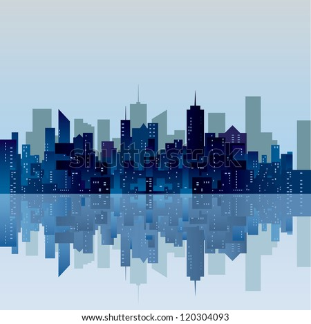 vector blue city silhouette