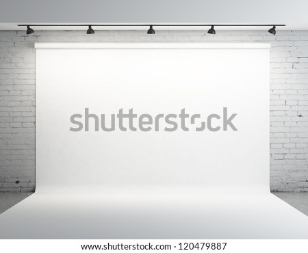white backdrop in room with