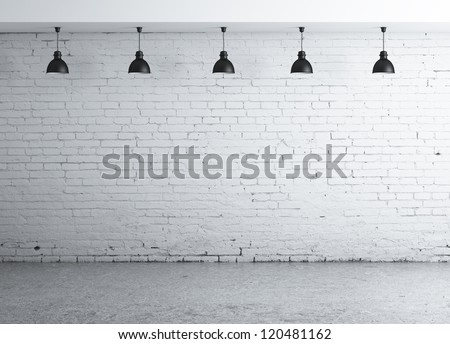 brick concrete room with five