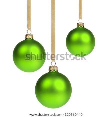 three christmas balls hanging