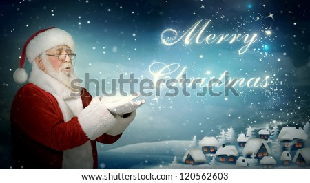 santa claus blowing   merry