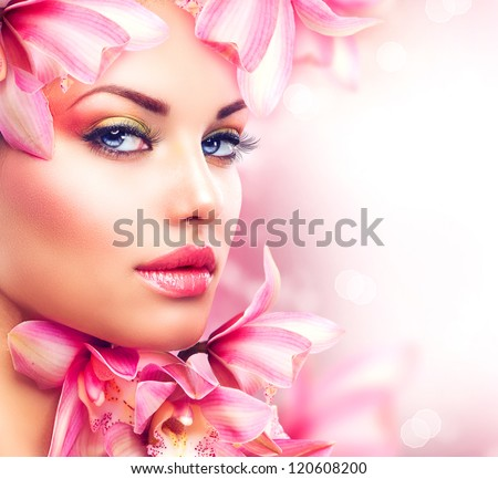 beauty girl with orchid flowers