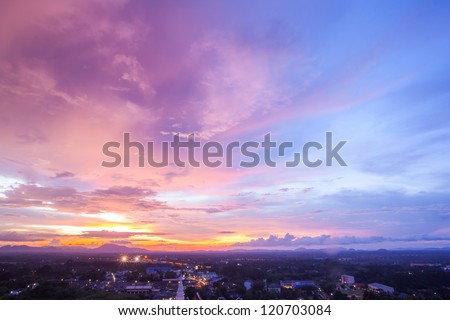 beautiful cityscape sunset at