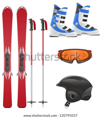 ski equipment icon set vector