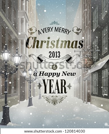 christmas greeting card   snowy