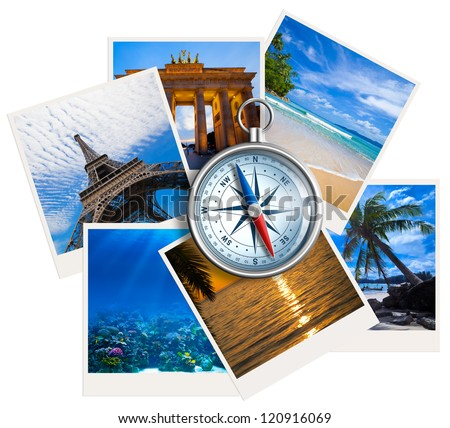 traveling photos collage with