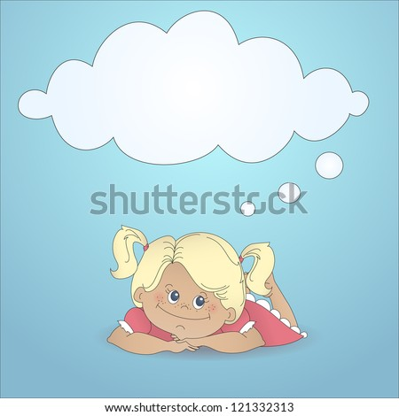 cartoon girl dreaming with a