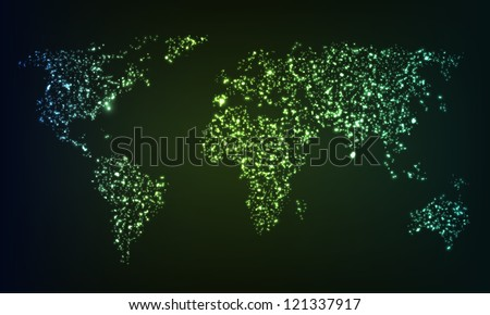 glowing world map formed by