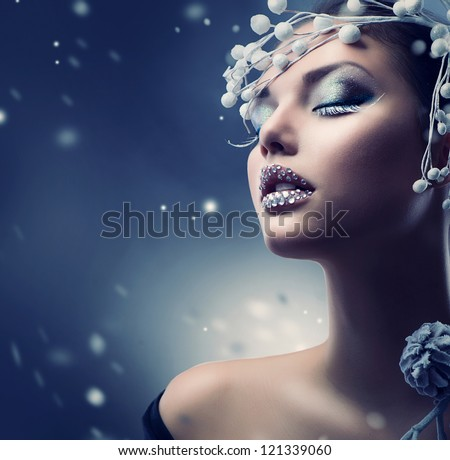 winter beauty woman christmas